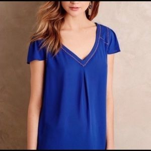 Anthropologie Maeve Cap Sleeve Cobalt Blue Blouse